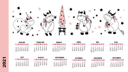 Calendar pages for 2021. year of the ox or calf. Bull character  illustration. Ilustrace
