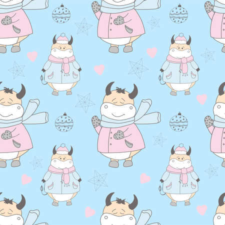 Bull pattern. 2021 year. year of the ox or calf. Bull character  illustration. 矢量图像