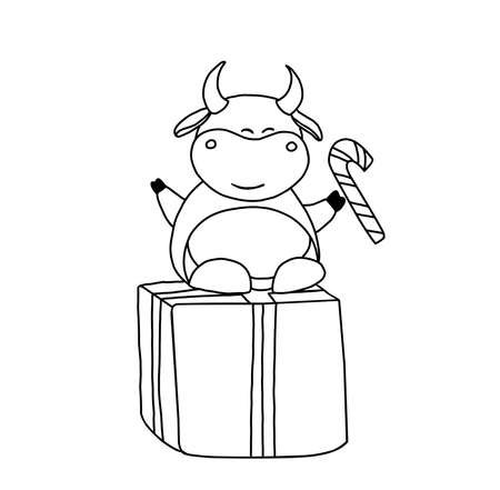 Year of the bull. Ox coloring page. Children's illustration bull or ox.  Symbol of the year 2021