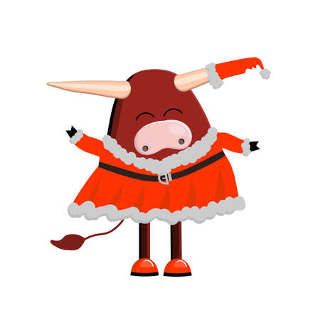 Year of the calf. Cute ox character  isolated on a white background. 矢量图像