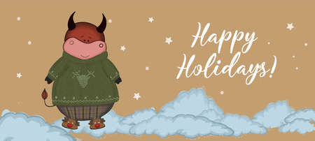 Christmas kraft paper card, hand drawn style. Vector illustration of the year of the bull 2021. Happy holidays.