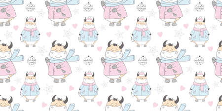 2021 symbol of the year ox. Christmas pattern. Bulls in the snow. Design for wrapping paper, fabric and clothing. Pastel delicate colors. Ilustrace