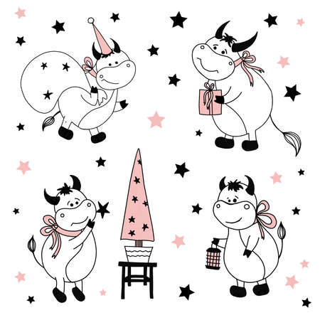 Bull symbol of 2021. Character bison or cow. Funny cute ox on a white background. Christmas illustrations.