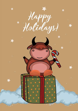 Christmas kraft paper card, hand drawn style. Vector illustration of the year of the bull 2021. Happy holidays. calendar 2021