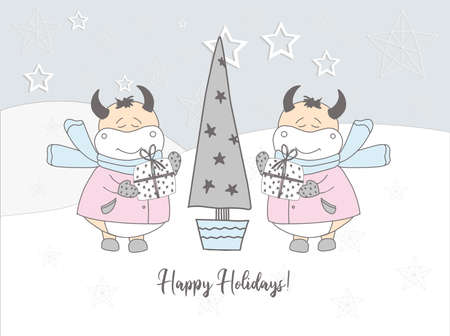 Bulls in the snow. Greeting card. Pastel delicate colors.