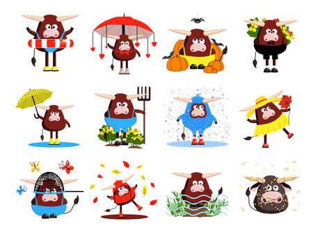 set of bulls characters. 12 bulls, oxen and cows. Funny cute animals. clipart free on a white background. Vector illustration of the symbol of 2021.