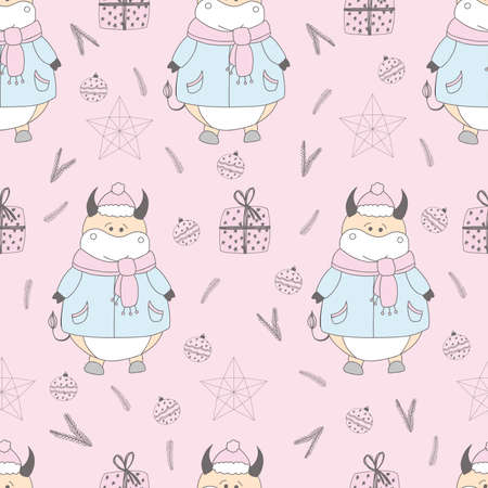 2021 symbol of the year. ox. Christmas pattern. Bulls in the snow. Design for wrapping paper, fabric and clothing. Pastel delicate colors. Ilustrace