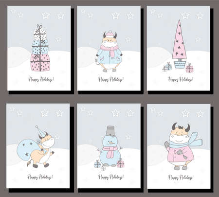 happy holidays. 2021 symbol of the year of the ox. Set of six christmas cards. New Year's bulls. Pastel delicate colors.