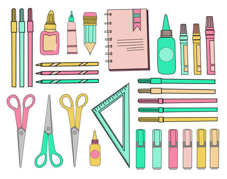 school sticker set. School accessories. Stationery on a white isolated background. Scissors, triangle ruler, pencils, pens and markers.