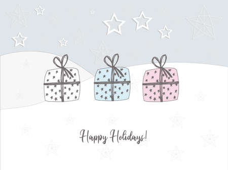Christmas poster horizontal. Caption: happy holidays. Gift in the snow. Greeting card. Pastel delicate colors.