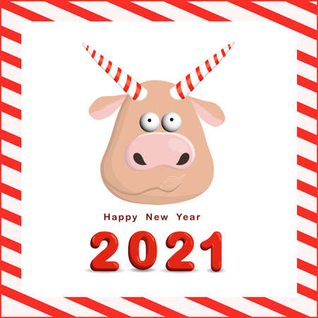 Year of the bull postcard square. Funny christmas character ox. 2021, vector illustration