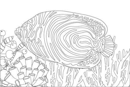 Coloring page fish. Sea life. Undersea world. vector illustration