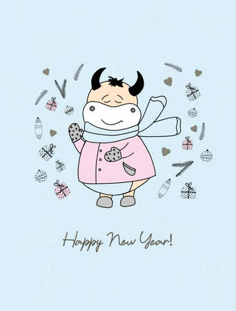 Year of the bull. Funny bulls characters. Cute ox in clothes. Symbol of 2021. Christmas card Ilustrace