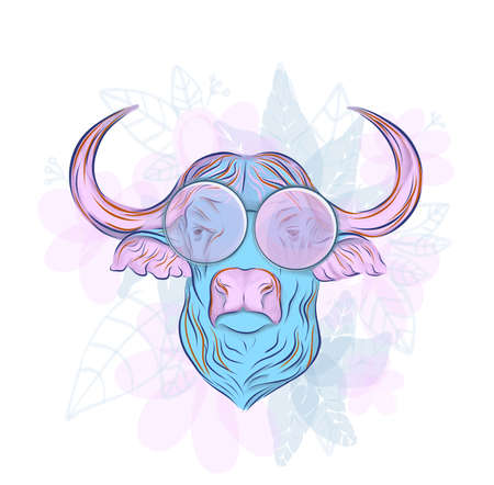 Bull logo. Head of an ox, hand-drawing. Fashion illustration for printing on fabric Reklamní fotografie