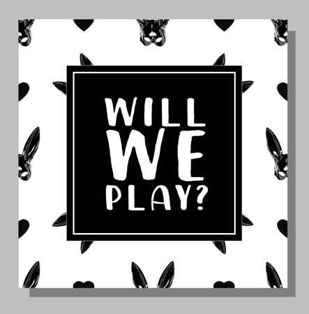 Postcard or poster with the inscription. will we play . Ilustrace