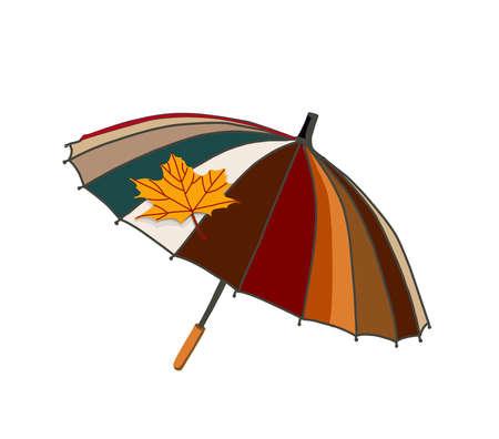 Umbrella with autumn leaves. Autumn season. The umbrella is isolated on a white background. Vector illustration.