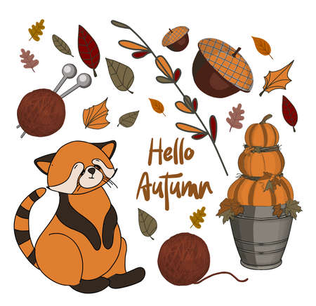 Autumn stickers. Set of cute autumn cartoon characters, plants and food. Fall season. Collection of scrapbook elements for party, harvest festival or Thanksgiving day