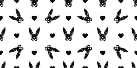 Seamless pattern for a shop. Rabbit mask black. Fetish. Bunny on a white background.