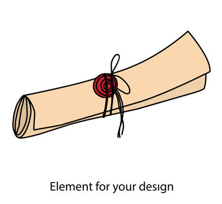 Scroll. The letter is rolled up. Message. Post office. Parchment with a seal. The seal is red. Vector illustration. magic items.