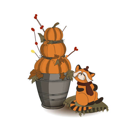 Autumn composition. Pumpkin and autumn twigs isolated on white background. Red panda character. Cute animals in a hat. Thanksgiving card.