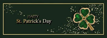 CLOVER SHEET on a green background. JEWELERY. Golden clover. Chic postcard for Saint Patricks Day. Horizontal format.