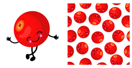 CRANBERRY character. Cute funny yellow berry. Berry seamless pattern. Bright colors..