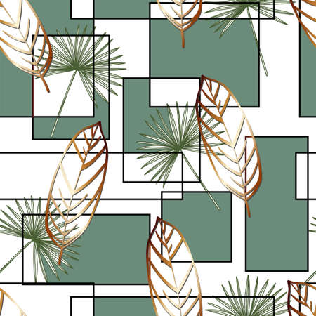Summer print of exotic plants jungle tropical leaves, pattern, seamless floral vector on a light background.Nature wallpaper. Trendy modern pattern. Fabric and textile design. Print for bed linen.