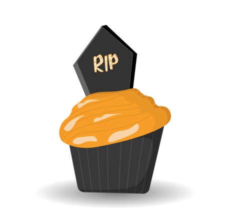 Spooky muffin or Halloween cupcake, HALLOWEEN RECEPTION. DESSERTS. Party on October 31st. Vector illustration.