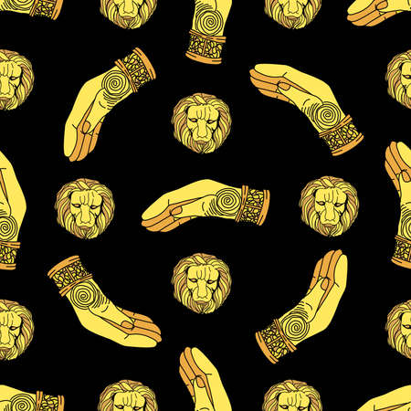 Magic pattern. gold hand prosthesis. Golden lion mask on a black background.