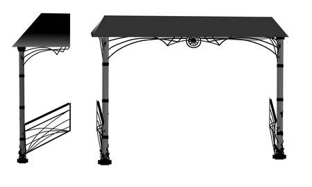 SKETCH of forged metal elements with antique ornaments. Artistic forging forged stair railing visor.