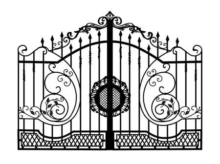 SKETCH of forged metal elements with antique ornaments. Artistic forging belongs to the category of handwork. curl on a white background. fence, forged fencing.