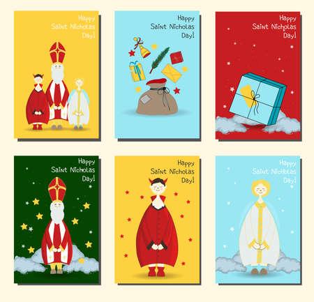 Saint Nicholas, Christian holiday. Set of posters or banners. postcards set Happy saint nicholas day. Illustration