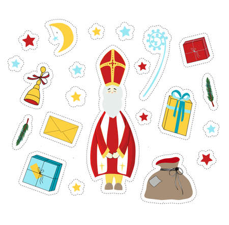 St Nicholas. Saint Nicholas Day stickers. Elements for the holiday. Gift, surprise, fir branches.