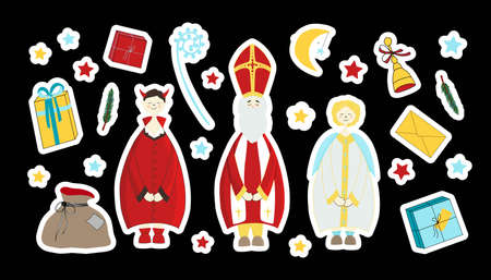Saint Nicholas, devil and angel. Saint Nicholas Day stickers. Elements for the holiday. Gift, surprise, fir branches. Vektoros illusztráció