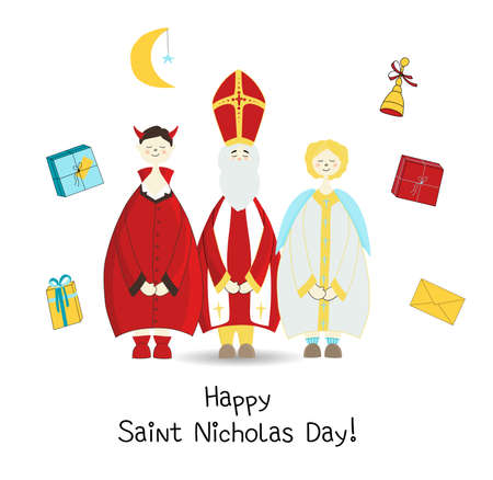 Krampus, Saint Nicholas and the Angel. Christian holiday Saint Nicholas Day. posters or banners. card.