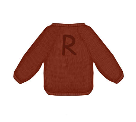 Cozy knitted sweater . Brown sweater with the letter R.