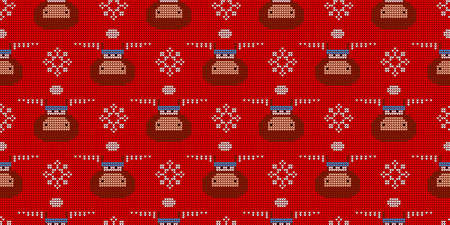 Knitted pattern. Knitting with needles. Seamless red winter pattern. year of the bull or ox