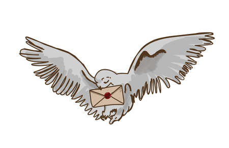 Owl postman. White owl with letter.Magic bird. Isolated on white