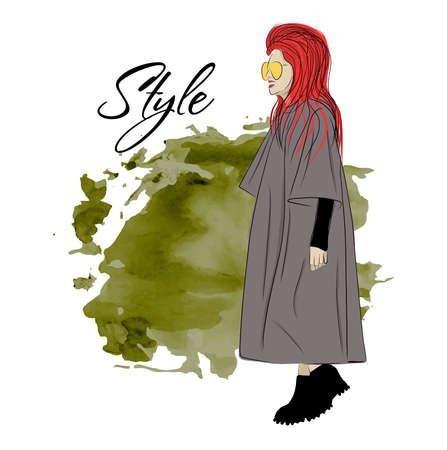 Beautiful stylish girl or woman in a coat.