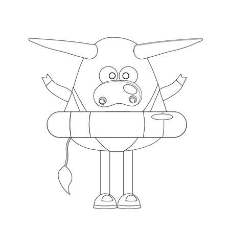coloring page. ox. cow or bull cute character