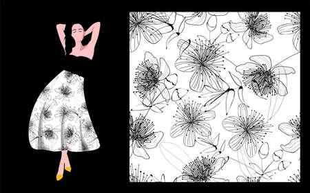 Print Textile Fabric Design Cool Floral Print Black Flowers White