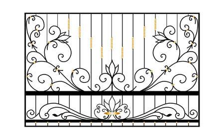 design of forged products. metal gate sketch. modern blacksmithing Ilustración de vector