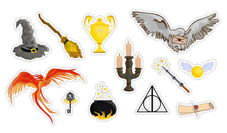 A set of magic items. school of magic and witchcraft. isolated on white. Vector illustration.