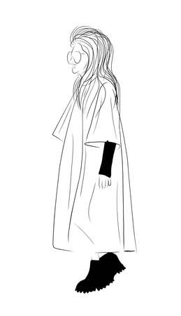 Woman black white isolated on white background. Modern style of clothing. Women in coats. Top Model. Fashion week. Trend illustration.  イラスト・ベクター素材