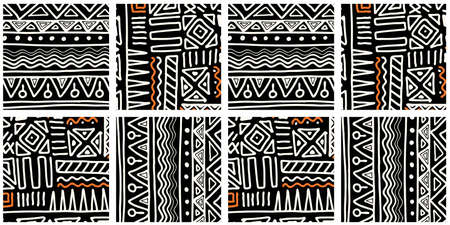 ETHNIC TREND PATTERN. PAINTWORK IN AFRICAN STYLE. PATTERN SEAMLESS AFRICAN. TRADITIONAL PATTERN. PRIMITIVE MINIMAL HAND DRAWINGS. Vector illustration. Fashion. Vetores