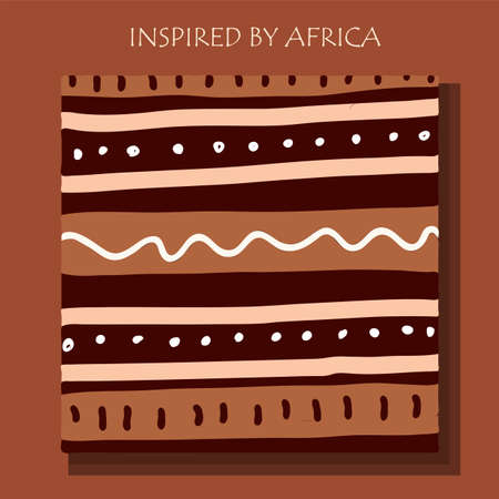 African background, flyer with grunge tribal traditional pattern. Conceptual design, Ethnic ornament. Warm browns. Trend illustration Vettoriali