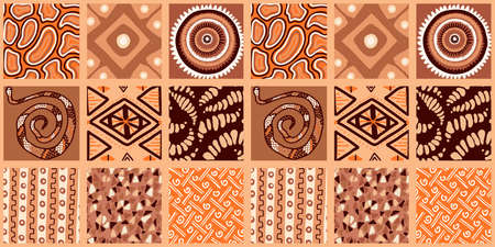 African print, seamless vector pattern in traditional African manner. Ethnic ornament. Warm browns.
