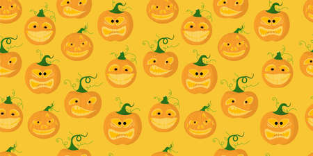 Halloween seamless pattern. pumpkin is scary and cute. Vector illustration.