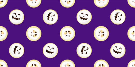 Halloween seamless pattern. scary and cute faces. Vector illustration.