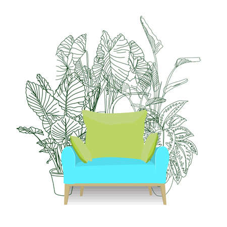 The chair is against the wall. vector illustration